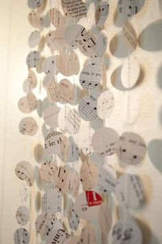 Music Note Paper Garland Home Decor Gift Wrap 5 by CThandmade, $15.00 by theresa
