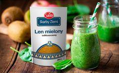 Zielone smoothie ze szpinakiem, bananem i lnem mielonym Larp, I Love Food, Baking, Drinks, Bottle, Drinking, Beverages, Bakken, Flask