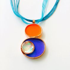 Copper Resin and Dichroic Glass Pendant in Blue by 3DGlassDesigns