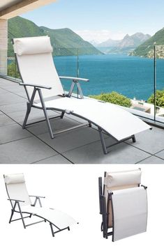 White Reclining Lounge Chair Folding Patio Outdoor Pool Deck Chaise Bed Pillow #WhiteRecliningLoungeChair