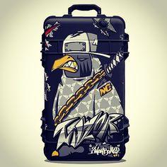 Ninja crow taylor. pelican suitcase sticker design. Designed by DOLDOL. www.graphicer.co.kr. #Snowboard #skateboard #suitcase #longboard# #surf #서프 #skull #힙합 #펠리칸  #스노우보드 #롱보드 #bike #해골 #케이스 #bag #pelican #graffiti #여행 #crowtattoo #돌돌디자인 #여행가방 #캐릭터 #인스타그램 #여행가방스티커 #캐리어 #슈트케이스 #extreme #mtb #스티커 #camp