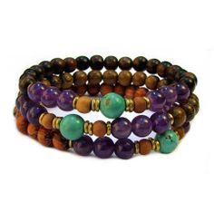 Genuine amethyst and turquoise mala stack.