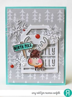 card by amy rohl confetti cuts merry christmas snowflake trio and holly jolly tag rc cardstock iced aqua and cloud white rc paper pad very merry