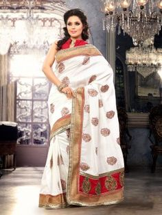 White Bhagalpuri Silk Saree With Butta Work www.saree.com