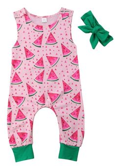 1bb80377df4 Sleeveless baby girl romper. Adorable watermelon print. Perfect for summer  days. Includes a