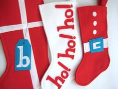 Santa's Suit Modern Christmas Stocking  Fun Eco by stitcholicious, $18.00