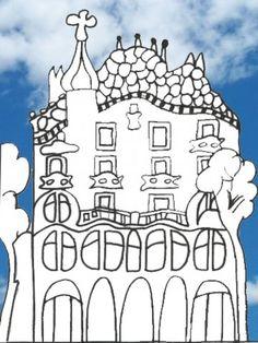 Barcelona Spain - gaudi coloring page Classroom Art Projects, Easy Art Projects, Gaudi Mosaic, Arts Barcelona, Barcelona Spain, Aluminum Foil Art, Paper Mosaic, Antoni Gaudi, Lion Art