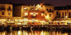 Nachtlichter am venezianischen Hafen von Rethymno, Kreta