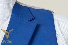 Bespoke tailored Royal Airforce Blue Waistcoat with slanted pockets and peak lapels, part of a Royal Airforce Blue 3 Piece Wedding Suit. #Bespoketailoring in #Amsterdam.  Handgemaakt Blauw Vest, Gilet met peak lapels en schuine zakken.maakt deel uit van 3 Delig Blauw Trouw Kostuum,  #Kleermaker in #Amsterdam  #maatpak