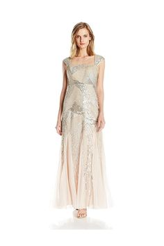 (This is an affiliate pin) Adrianna Papell Women's Petite Cap Sleeve Fully Beaded Gown