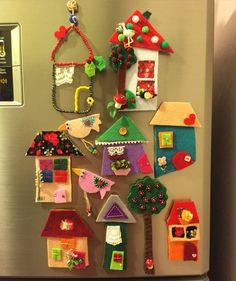 keçe, keçe ev, keçe magnet, keçe ev magnet, felt, feltro, felt house, felt… Felt Crafts Diy, Felt Diy, Diy Crafts For Kids, Home Crafts, Fun Crafts, Felt Magnet, Felt House, Felt Sheets, Felt Decorations