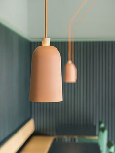 Stockholm-based Note Design Studio used photographs of Death Valley to inform the pastel colour scheme for this bistro and coffee shop in the city. Interior Design Magazine, Note Design Studio, Notes Design, Cool Lighting, Lighting Design, Blitz Design, Design Light, Suspension Design, Luminaire Design