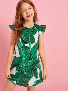 To find out about the Girls Tropical Print Ruffle Trim Tunic Dress at SHEIN, part of our latest Girls Dresses ready to shop online today! Cord Pinafore Dress, Tropical Girl, Girls Dresses Online, Girls Tunics, Natural Clothing, Houndstooth Dress, Belted Dress, Dress Backs, Cheap Dresses