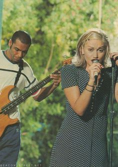 A young Gwen Stefani playing with No Doubt!
