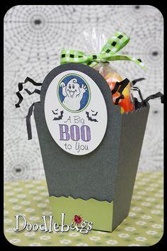 Halloween Treat Box- Lifestyle Crafts popcorn box, Tim Holtz/Sizzix cabinet die, JustRite stamps