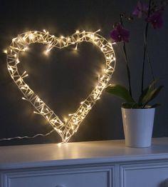 Fairy light heart wreath