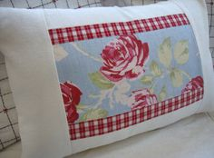 Cottage Pillow French ShaBBy Chic Red Plaid by Sassycatcreations