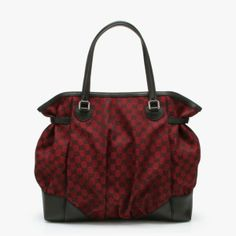 Gucci Gucci Monogrammed Nylon & Leather Gathered Tote in Red & Black featured in vente-privee.com