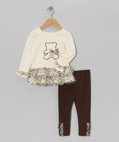 Take a look at this Beige Teddy Bear Ruffle Top & Leggings - Infant & Toddler on zulily today!
