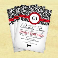 60th Birthday Invitation / 30th / 40th / 50th / 70th / 80th / 90th / Red Black Damask / Digital Printable Invitation / Customized