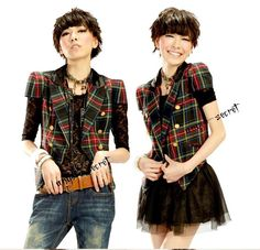 Ps17 Vest Jacket Checked Gothic Frock Power Shoulder Lolita Plaid Tartan