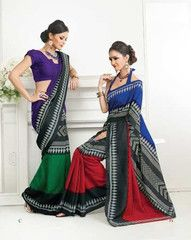 Choose from #purple and green/blue and #red #colour #Bhagalpuri #silk material #saree #sari