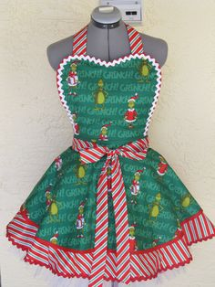 Sexy Heart Shaped Grinch Apron  Double Flounce  by AquamarCouture, $49.99