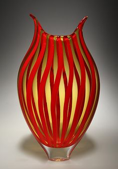 Cherry/Amber+Cane+Foglio by David+Patchen: Art+Glass+Vessel available at www.artfulhome.com
