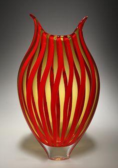 """Cherry/Amber Cane Foglio"" Art Glass Vessel Created by David Patchen"