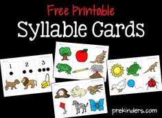 These printable syllable cards can be used for many literacy activities. Learning to count syllables in words helps increase kids phonological awareness.