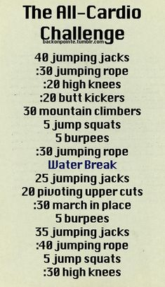 The all-cardio challenge with jumping jacks, burpees, jumping rope among other exercises.