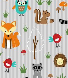 Novelty Cotton Fabric-Woodland Friends Orange