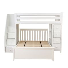 Jackpot! All-in-One Storage Full Loft Bed with Staircase Finish: White