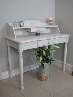 Beautiful Desk / Dressing table painted in Annie Sloan 'Old White' Some of my furniture appliques / Mouldings were added to give an gorgeous Shabby Chic feel! www.chicmouldings.com