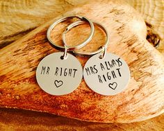 Pair of hand stamped keyring - Mr Right & Mrs Always right by InkandfeatherbyKerry on Etsy