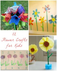 12 spring flower crafts for kidsI liked #1 - do with wall paper scraps or scrapping paper scraps :) and #4?  The one with the F for a stem