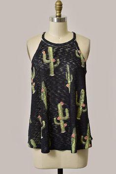 Black Cactus Print Tank Top
