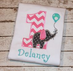 Girl's  Elephant  Birthday Shirt, Available in ages 1-9, Personalize with yoby thesimplyadorable, $24.00