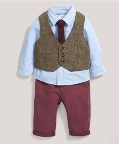 Occasion Tweed Waistcoat Shirt Bow Tie Chino Set | Mamas & Papas