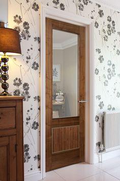 Monaco Walnut 2-Panel Glazed bespoke door - this beautiful modern door will wow your guests.