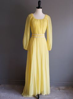 How cute would this be if you shortened it?! - vintage 70s peasant yellow cotton maxi dress s by heightofvintage, $48.00