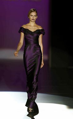 2013  Hannibal Laguna. Dark purple off the shoulder bridesmaid's sheath dress/gown that is simply elegant and classy.