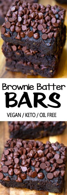 Ooey gooey dark chocolate brownie bars with the option to be flourless, keto, low carb, vegan, and gluten free #chocolate #keto #lowcarb #glutenfree #brownies #vegan