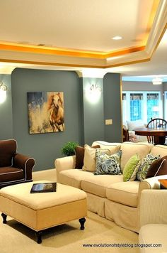 White and Brown Furniture with a great blue gray wall color. White and Brown Furniture with a great blue gray wall color. House Color Palettes, House Color Schemes, House Colors, Colour Schemes, Blue Gray Bedroom, Blue Grey Walls, Palladian Blue Benjamin Moore, Grey Wall Color, The Last Summer