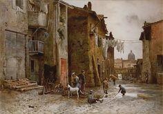 Ettore Roesler Franz Case medioevali in Via di S.Bonosa, 1885 Acquarello di cm 54 x 76