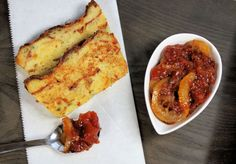 bacon bread pudding with tomato jam