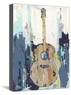 Deann Hebert Premium Thick-Wrap Canvas Wall Art Print entitled Bluebird Cafe I Guitar Painting, Guitar Art, Music Painting, Knife Painting, Diy Painting, Canvas Art Prints, Painting Prints, Canvas Canvas, Acrylic Paintings