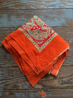 Vintage Oversize Bandana~ Unusual Old Estate Paisley Bandanna Orange Cotton #Unbranded #WesternBandana