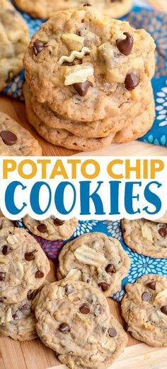 Potato Chip Cookies - Are you a fan of sweet and salty? Then whip up a batch of these Potato Chip Cookies. They're a chocolate chip cookie that's filled with salty potato chips and semi-sweet chocolate chips! They're soft, salty, and have a nice little potato chip crunch inside them. #cookies #cookiedoughandovenmitt #dessertrecipes