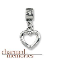 Charmed Memories Heart Dangle Charm Sterling Silver